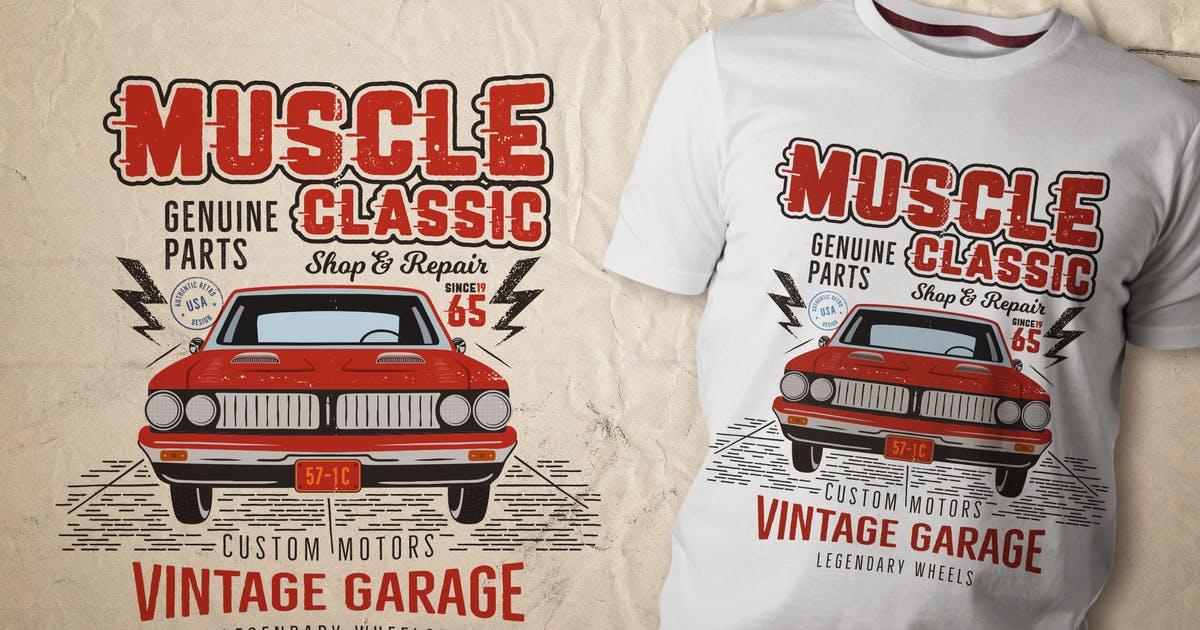 Download Muscle Classic Tee Design / Old Car T-Shirt Label by JeksonJS