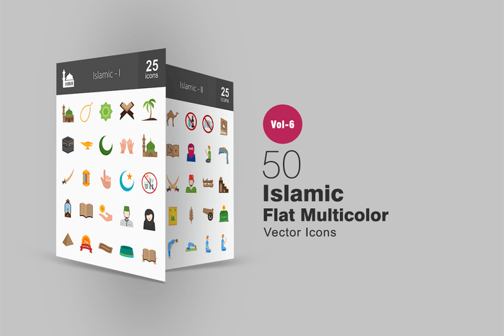 Thumbnail for 50 Islamische Flache Multicolor Icons