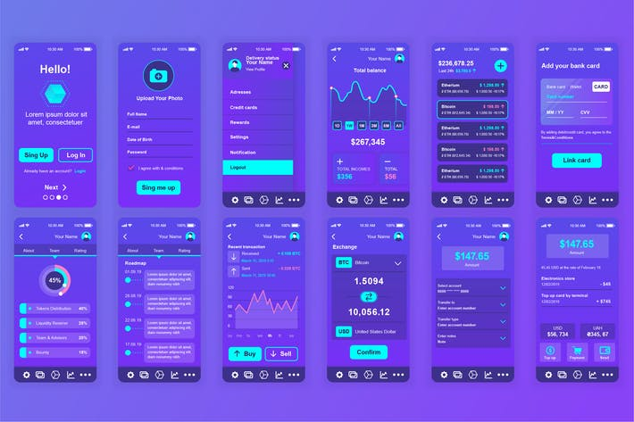 Thumbnail for Blockchain Mobile App UI Kit