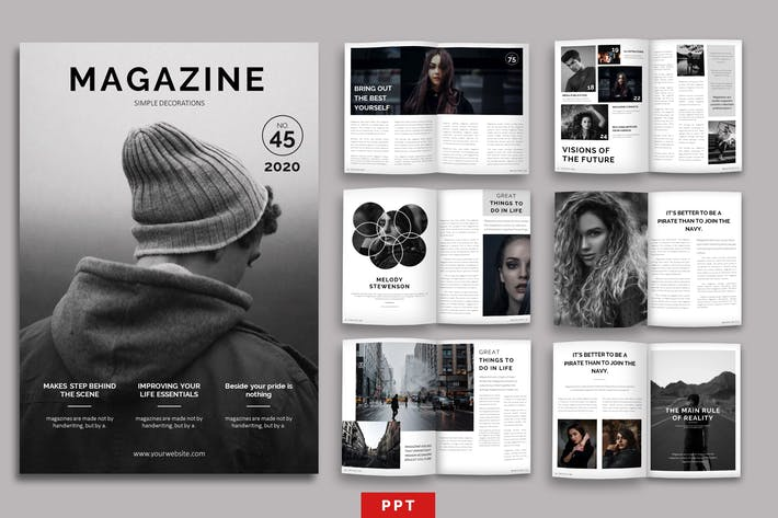Thumbnail for Magazine Layout Powerpoint Template