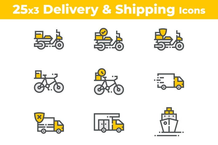 Thumbnail for 25 Delivery and Shipping Icons