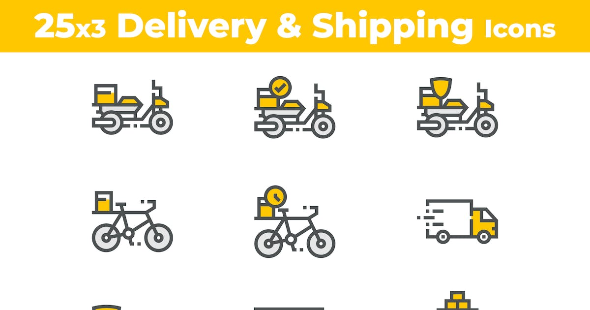 Download 25 Delivery and Shipping Icons by 3ab2ou