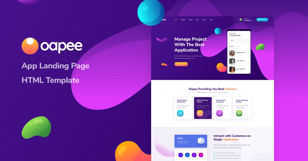 Download Oapee - App Landing Page HTML Template by Layerdrops