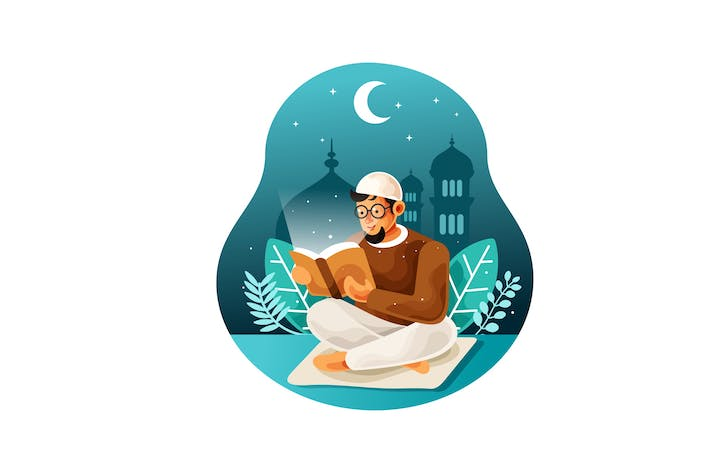Thumbnail for Reading holy book quran at night illustration