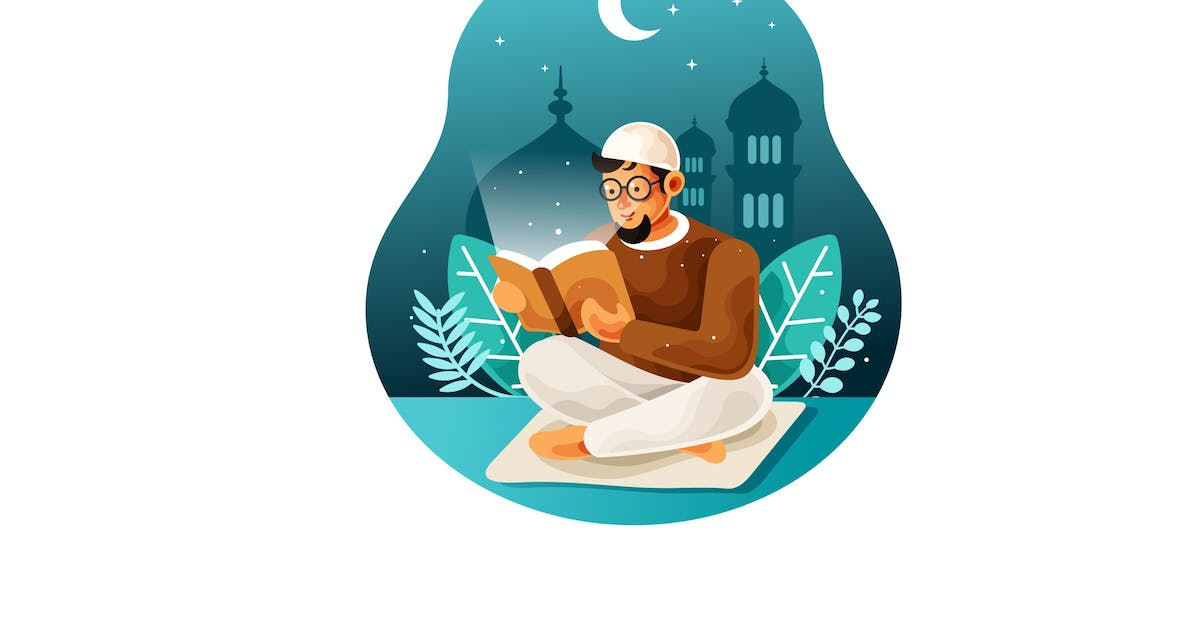 Download Reading holy book quran at night illustration by IanMikraz