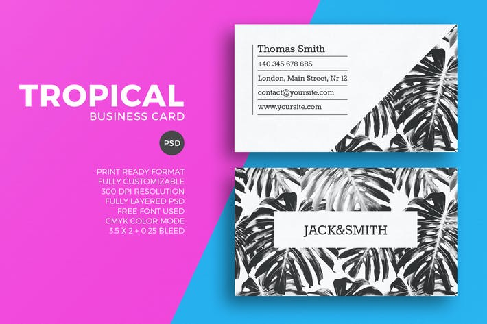 Cover Image For Minimalist tropical business card template