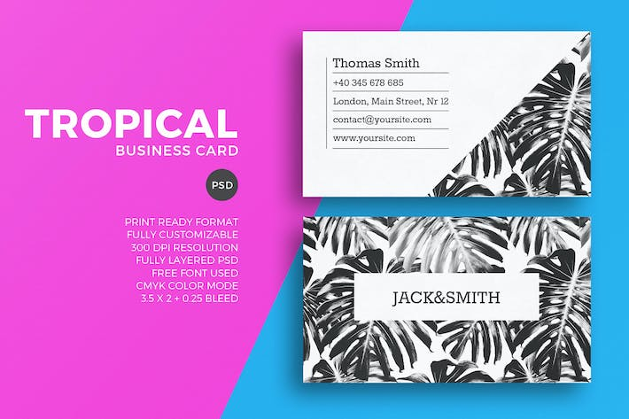 minimalist tropical business card template