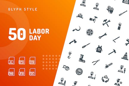 Labor Day Glyph Icons