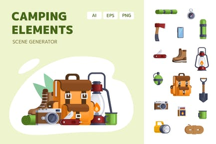 Camping Elements - Vector icons