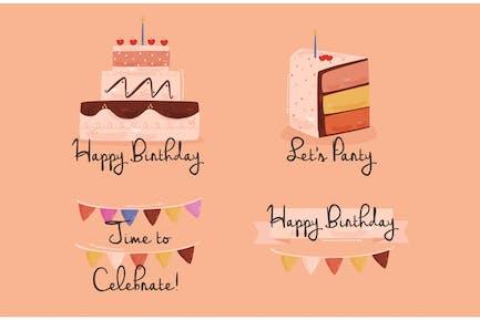 Ilustración de saludos de cumpleaños