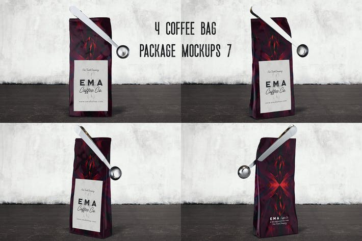 Thumbnail for 4 Coffee Bag Package Mockups 7