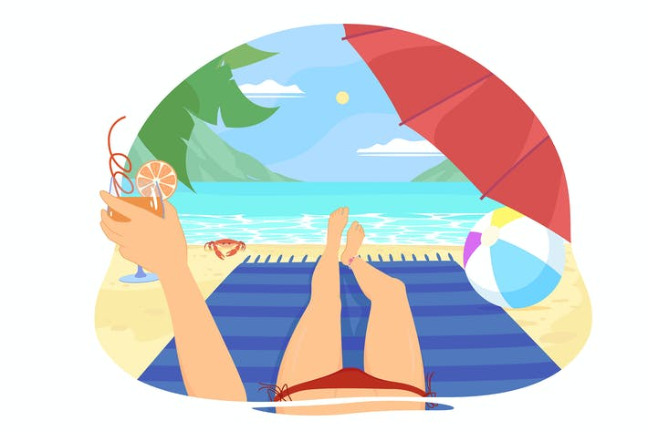 Thumbnail for Girl on the beach sunbathing under an umbrella