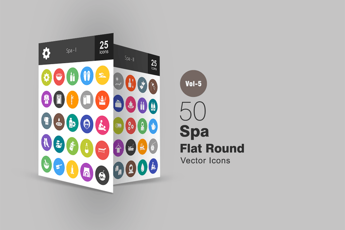 Thumbnail for 50 Spa Flat Round Icons