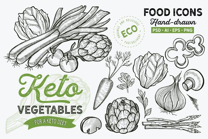 Thumbnail for Keto Vegetables Hand-Drawn Graphic