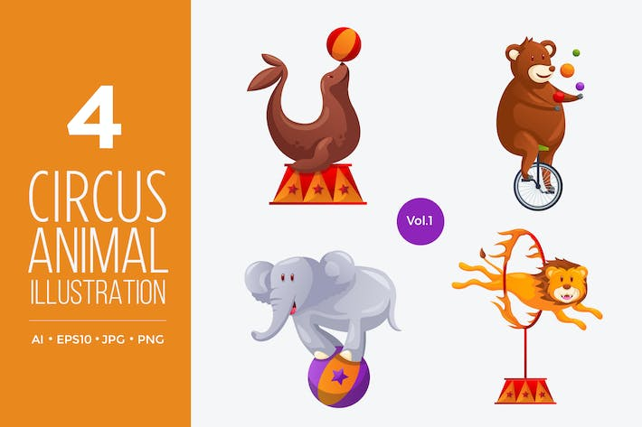 Thumbnail for Circus Animal Vector Character Set 1