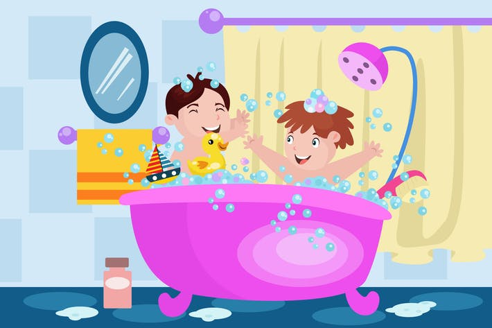Thumbnail for Kids Bathing Together - Activity Illustration