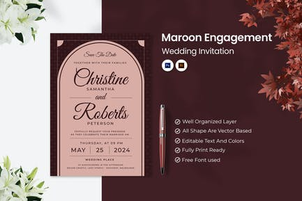 Maroon Engagement Wedding Invitation