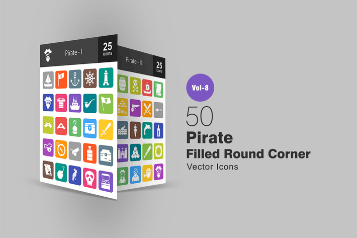 Thumbnail for 50 Pirate Filled Round Corner Icons