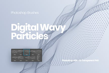 Digital Wavy Particles Photoshop Brushes