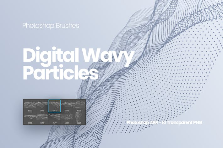 Thumbnail for Digital Wavy Particles Photoshop Brushes