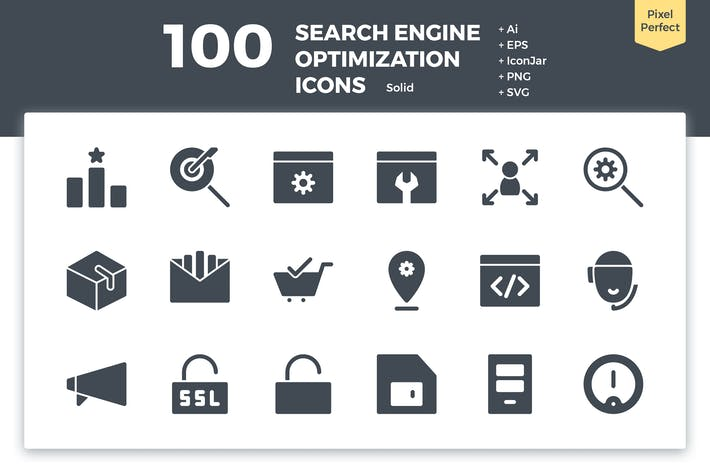 Thumbnail for 100 Search Engine Optimization Icons (Solid)
