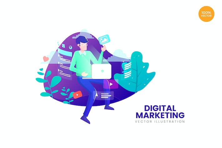 Thumbnail for Digital Marketing Vector Illustration Concept