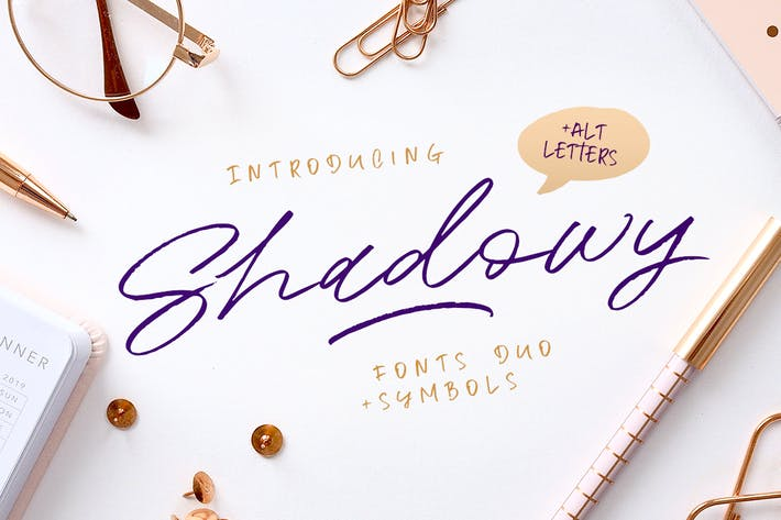 Thumbnail for Shadowy Script + Symbols