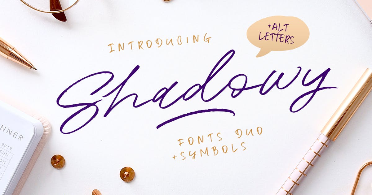 Download Shadowy Script + Symbols by Kavoon