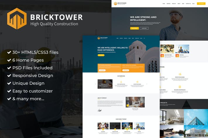 Thumbnail for Construction, Building Company PSD Template