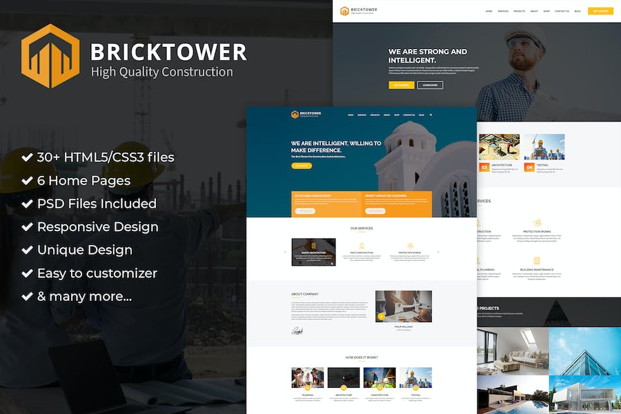 Construction, Building Company PSD Template