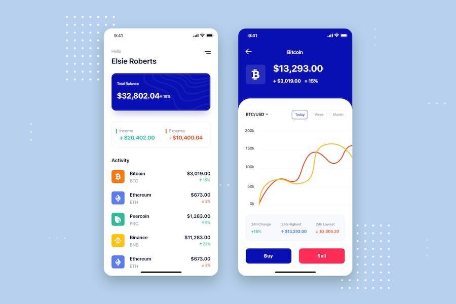 Finance - Crypto Mobile App UI Kit Template