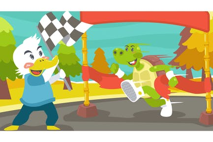 Fabel Schildkröte Kinder Illustration