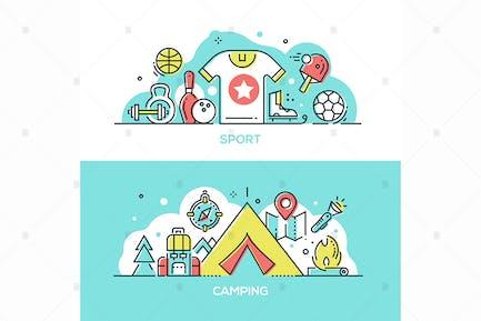 Deporte, camping - Ilustraciones de estilo de diseño de línea