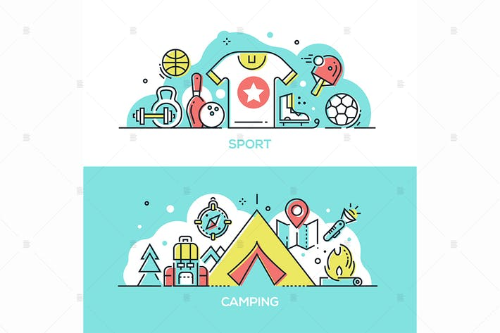 Thumbnail for Sport, camping - line design style illustrations