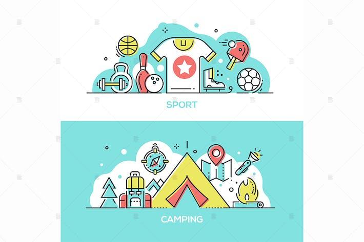 Thumbnail for Sport, Camping - line design style Illustrationen