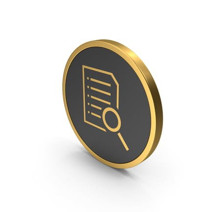 Gold Icon Document With Magnifying Glass