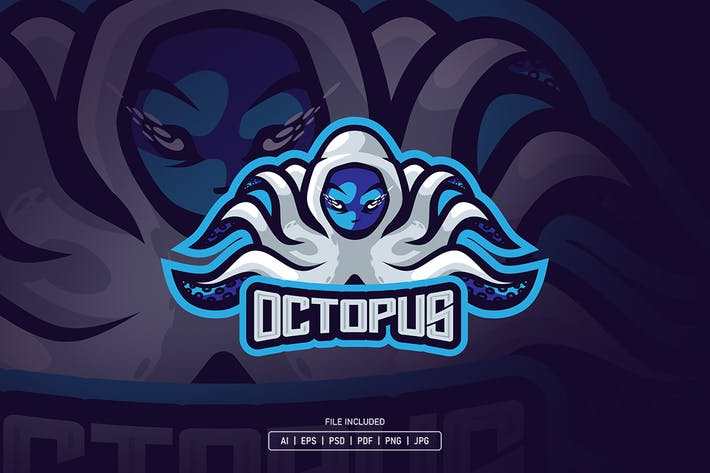 Octopus hood esport logo template