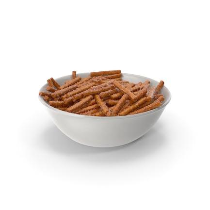 Bowl with Salty Pretzel Sticks