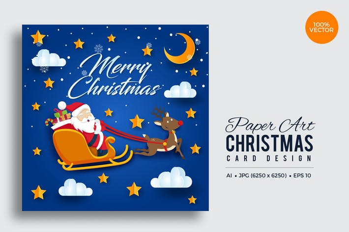 Thumbnail for Merry Christmas Square Vector Card Vol.10