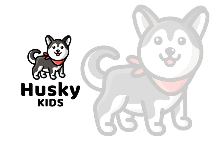 Thumbnail for Husky Kids Cute Logo Template