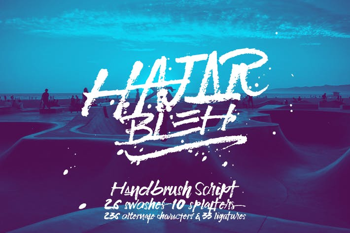 Thumbnail for HajarBleh Brush Font