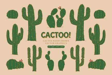 26 Cactus Hand-Drawn Vector Graphics