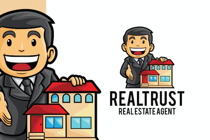 Thumbnail for Real Estate Agent Logo Mascot Template