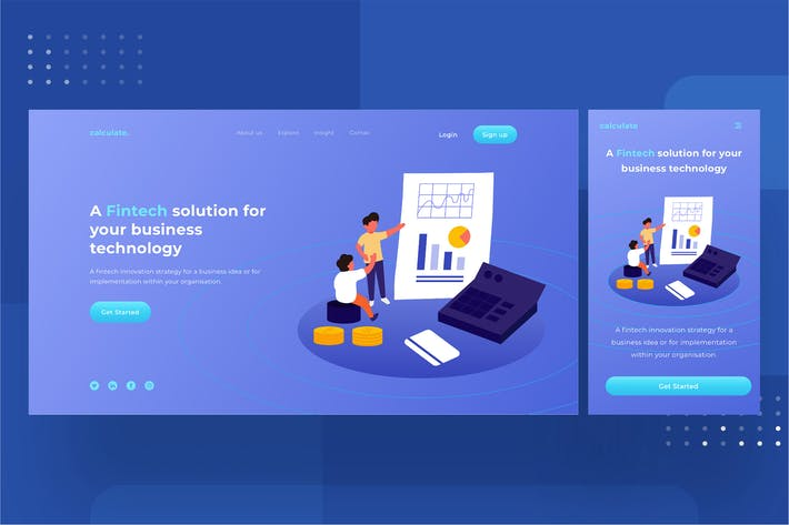 Thumbnail for Fintech Landingpage template 1.2