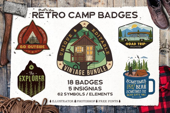 Thumbnail for Retro Camp Badges / Adventure Logo Patches. Part 3