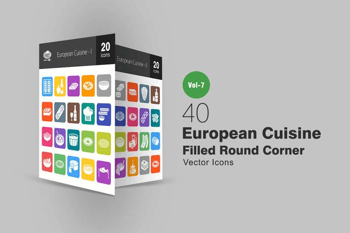 Thumbnail for 40 European Cuisine Filled Round Corner Icons