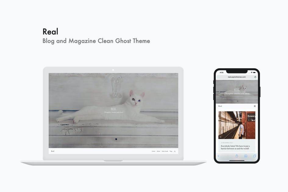 Download Real - Blog and Magazine Clean Ghost Theme by aspirethemes