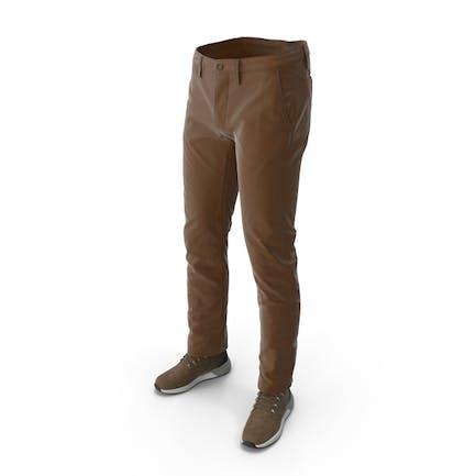 Men's Boots Pants Brown