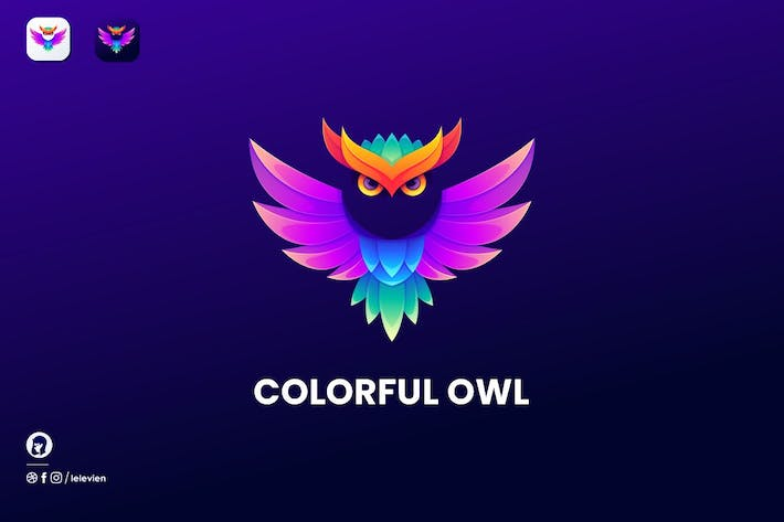 Thumbnail for Colorful Owl logo template