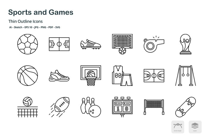 Thumbnail for Sports and game thin outline icons